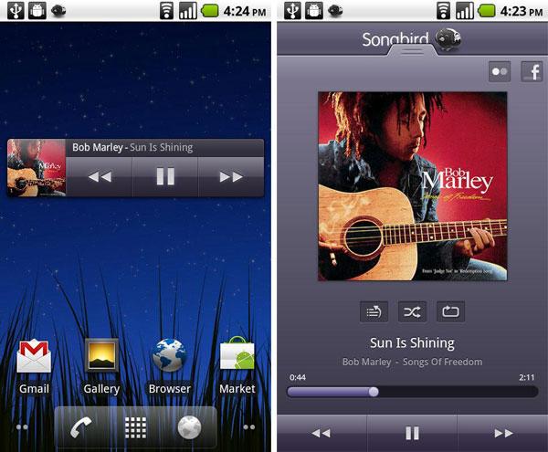Songbird para Android, reproductor de música para móviles con los iconos de Google