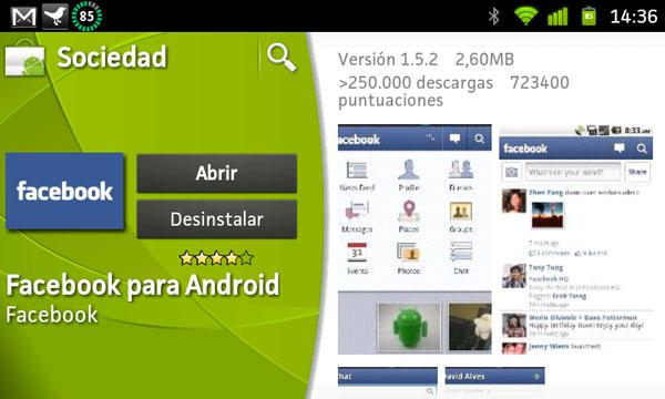 Facebook para Android recibe una nueva actualización