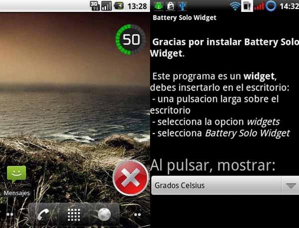 Battery Solo Widget, cómo ver y medir el nivel de la batería para Android