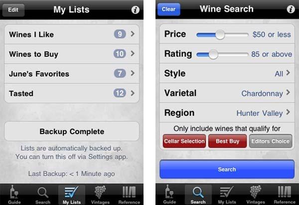 Wine Enthusiast Guide, una completa guía de vinos para iPhone y BlackBerry