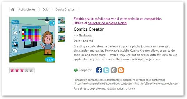 Comics Creator, crea tiras cómicas de forma sencilla con tu móvil Nokia