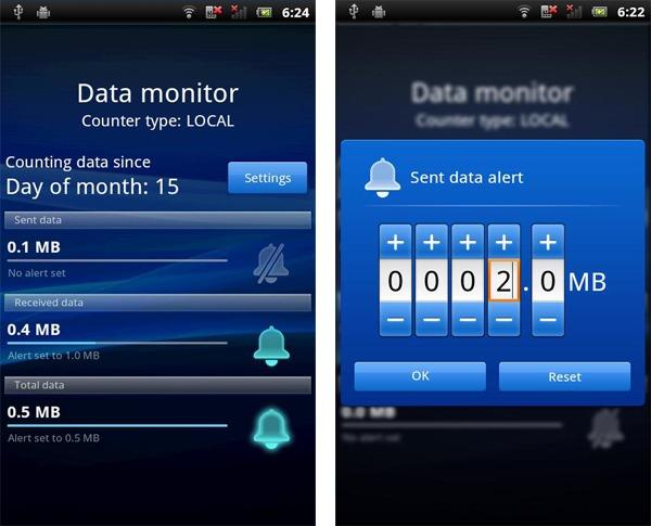 DataMonitor, controla el consumo de datos de tu Sony Ericsson con sistema operativo Android