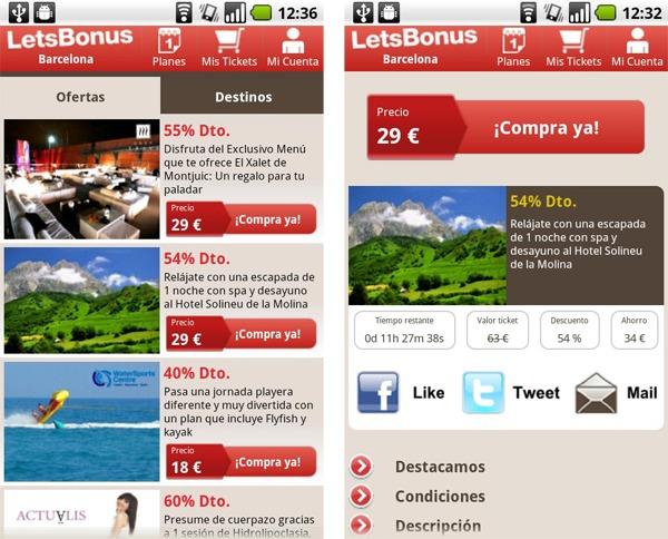 LetsBonus, consigue descuentos y ofertas para viajar desde tu móvil Android y iPhone