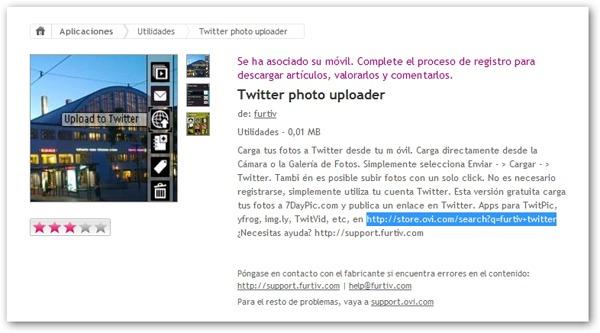 Twitter photo uploader, carga tus fotos fácilmente y compártelas en Twitter con tu Nokia