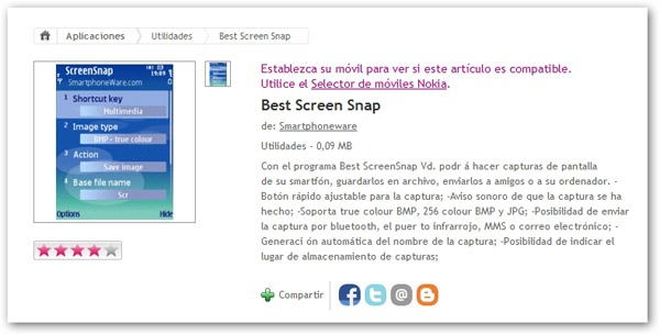 Best Screen Snap, haz capturas de pantalla de tu móvil Nokia con esta aplicación