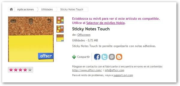 Sticky Notes Touch,crea notas desde tu móvil Nokia