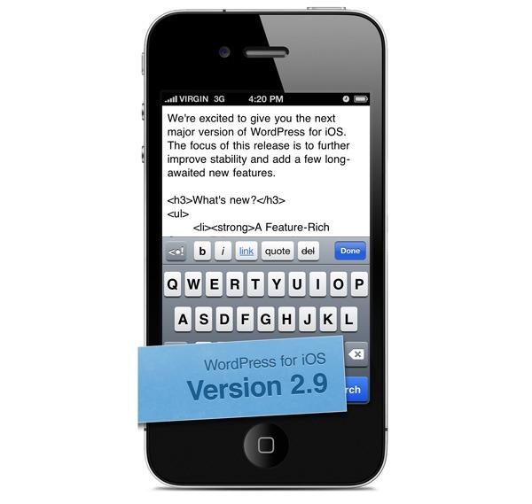 WordPress 2.9, edita tu blog fácilmente desde iPhone