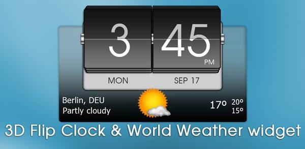 3D Flip Clock & World Weather, hora y tiempo para Android