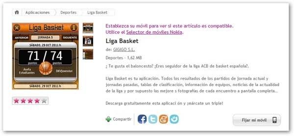 Liga Basket Informacion Sobre Baloncesto En Tu Movil Nokia