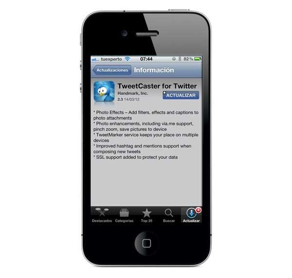 TweetCaster for Twitter 2.3, twitea fotos retocadas en iPhone