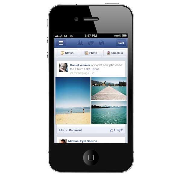 Facebook rediseña sus aplicaciones para teléfonos móviles