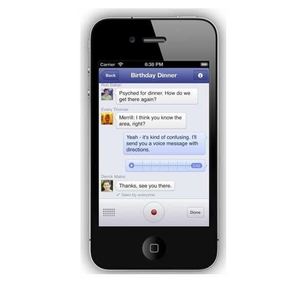 Facebook Messenger, ahora con mensajes de voz