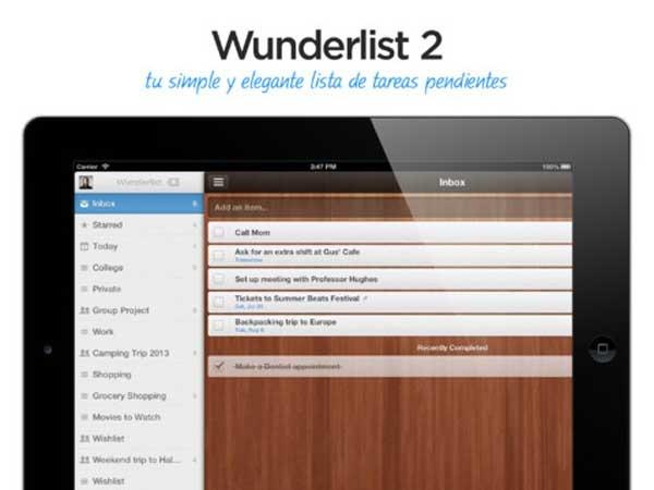 Wunderlist 2, las tareas ahora más fáciles y completas en iPad