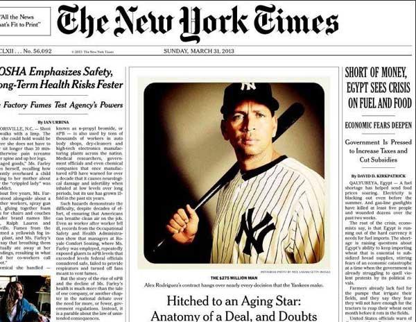 Una foto de Instagram en la portada de The New York Times