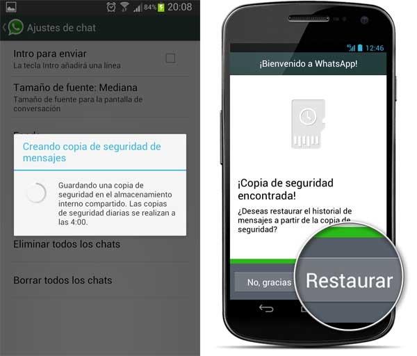 WhatsApp restaurar mensajes borrados