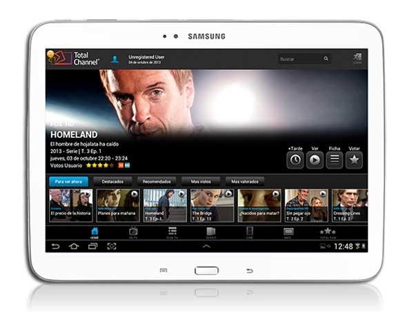 TotalChannel, la televisión a la carta llega a las tabletas Samsung