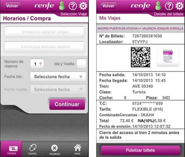 Como comprar renfe desde internet del iphone