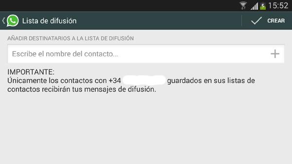 Mensajes en WhatsApp con copia oculta