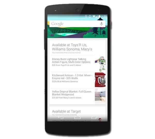 Google Now mostrará en qué tiendas encontrar el producto que se busca