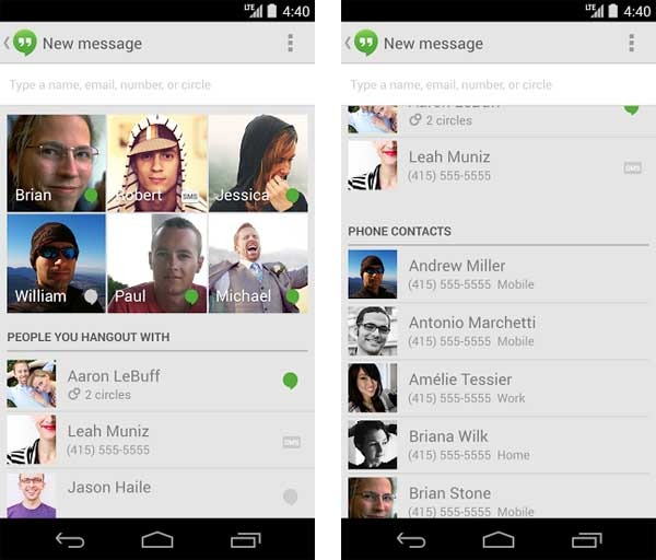 hangouts bloquear sms