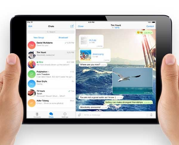 Telegram hd la app de mensajes y chats secretos se adapta for App para disenar muebles ipad