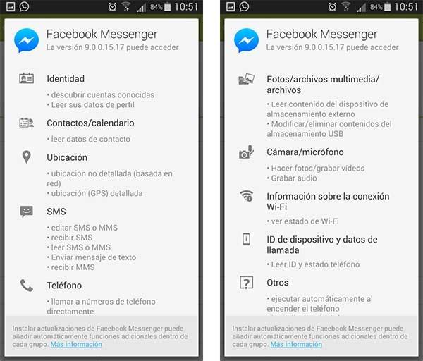 facebook messenger permisos