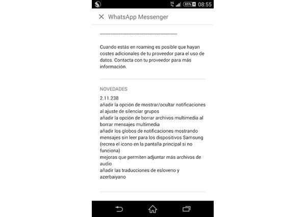 Nueva actualización de WhatsApp en Android