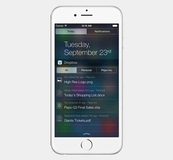 Dropbox se actualiza para aprovechar las ventajas de iOS 8