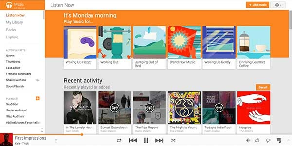 google play music material design