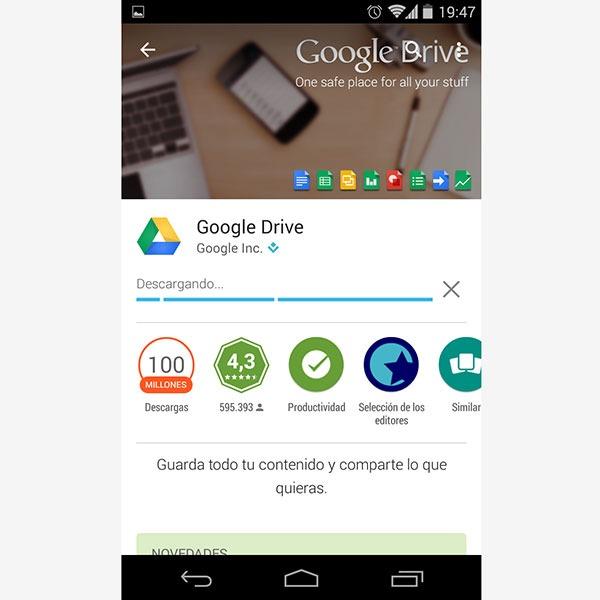 Google Drive se actualiza con el diseño de Android Lollipop