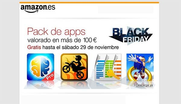 Amazon regala 100 euros en aplicaciones este Black Friday