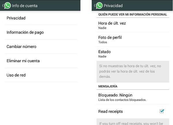 whatsap desactivar doble check azul android