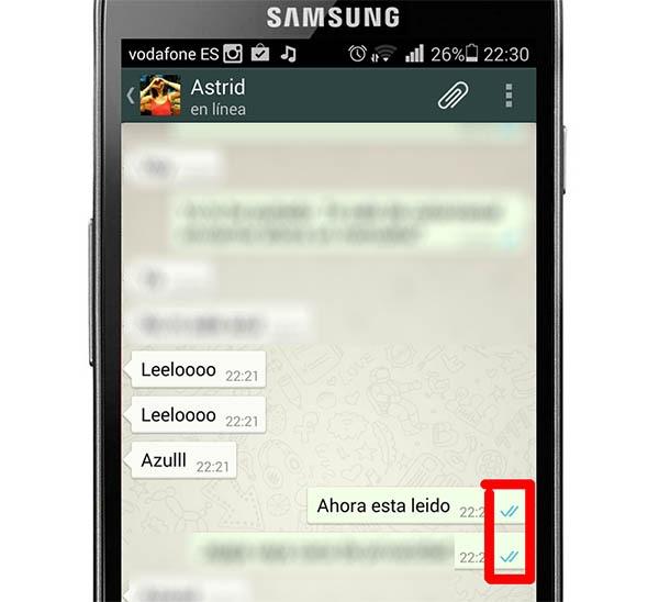 whatsapp desactivar doble check azul android