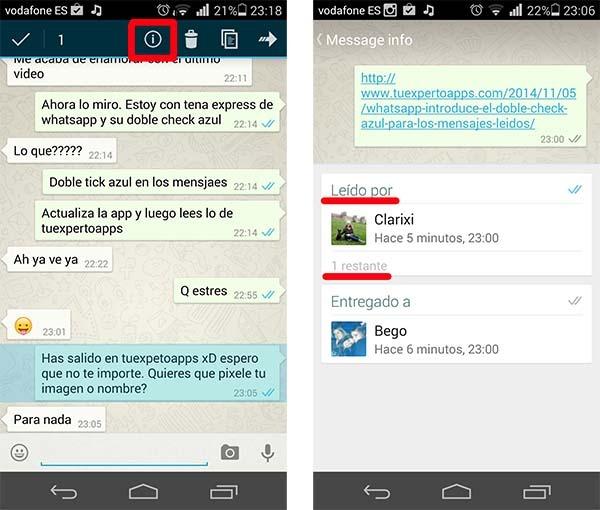 whatsapp doble check azul grupos
