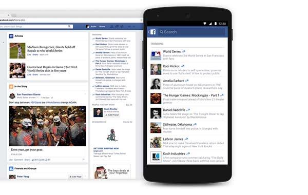Facebook lleva los temas del momento al móvil