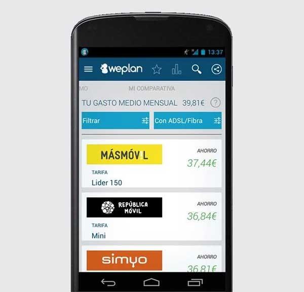 Weplan, una app para comparar tarifas y ahorrar dinero