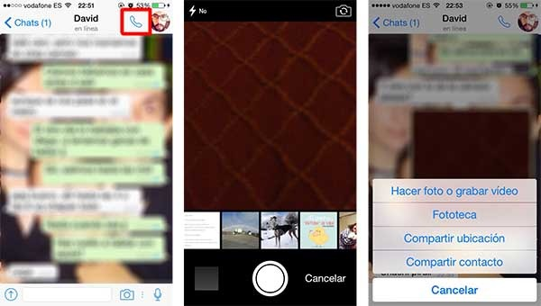 whatsapp icono llamadas ios