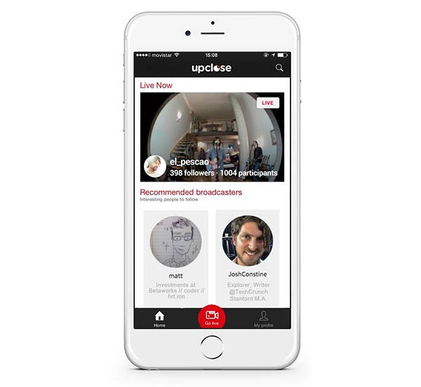 Upclose, emite en directo desde tu móvil con esta aplicación
