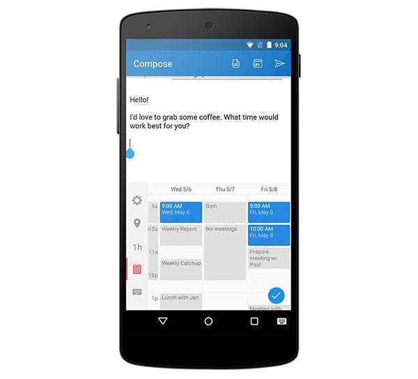 Meets, el teclado de la app Sunrise con eventos en vez de letras