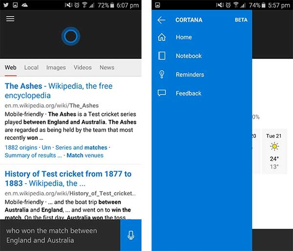 cortana android filtrada