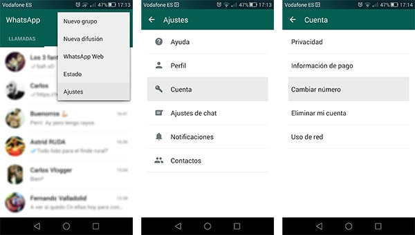 whatsapp cambiar número tutorial