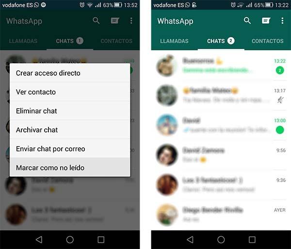 whatsapp marcar como no leído