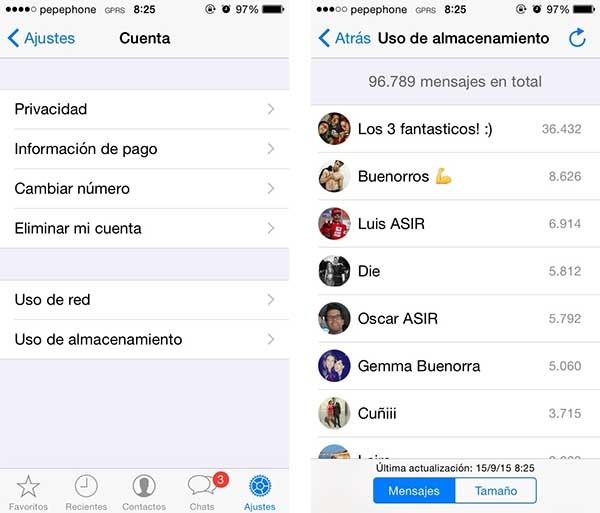 whatsapp contactos frecuentes