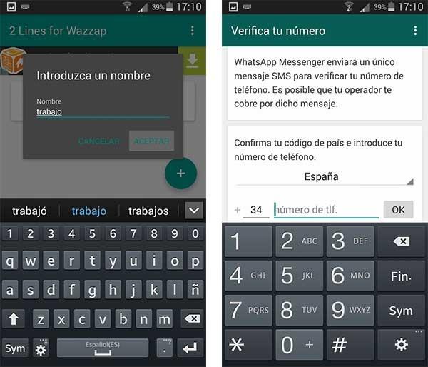 2 líneas de WhatsApp