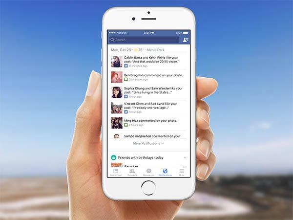 Así serán las nuevas notificaciones de la app de Facebook