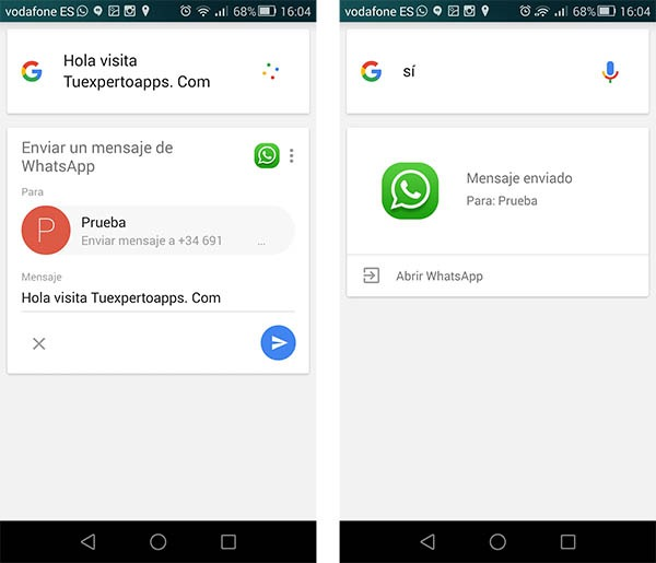 whatsapp voz Google