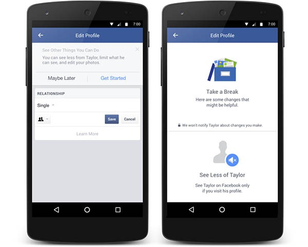Facebook romper ex