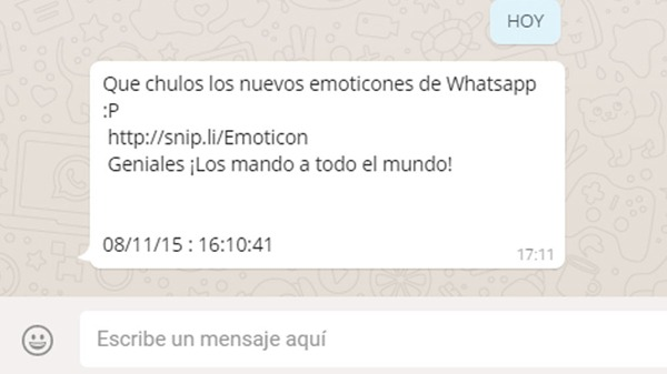 Mensaje de estafa de emoticones en WhatsApp