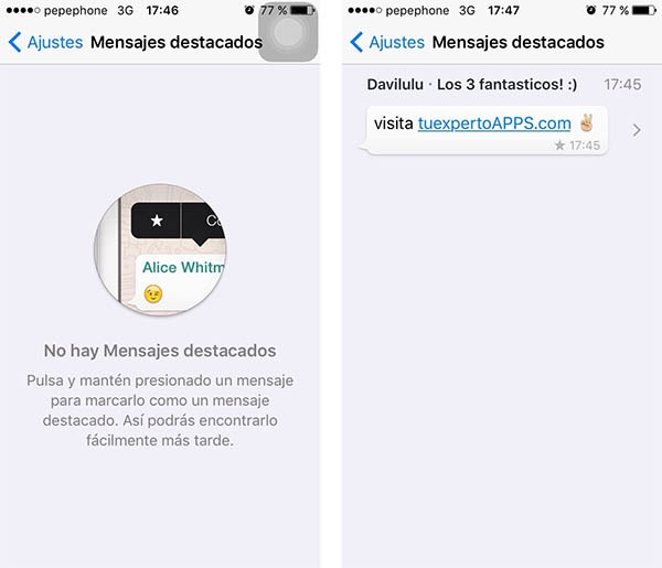 whatsapp destacados iphone