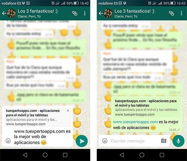 WhatsApp previsualizaciones web
